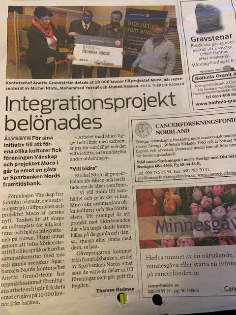 Integrationsprojekt belönades 11/12/2010 i Älvsbyn
